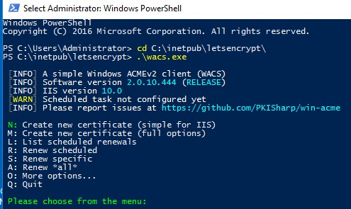 simple acmev2 client - create new certificate for iis on windows server