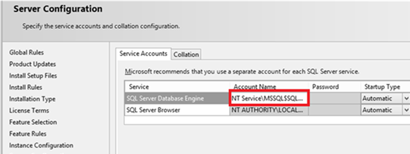 SQL Server Database Engine - service account name NT Service\MSSQLSERVER