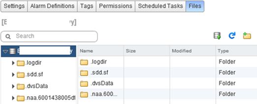 system files on vmfs: logdir, sdd.sf? dbsData and naa…