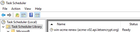 task in sheduler to renew Let's Encrypt certificate - win-acme-renew