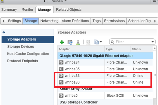 vmhba33 fibre channel QLogic adapters on vmware esxi