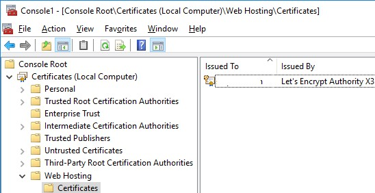 Web Hosting -> IIS Certificates authorities with Let's Encrypt