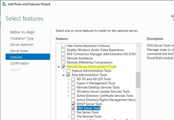 windows server: install remote server administration tools