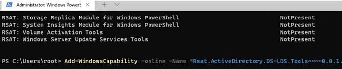 windows11: add rsat tools using install-powershell add-windowscapability cmdlet