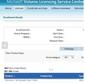 getting windows 7 extended security year1 mak key on VLSC