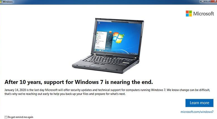 After 10 years, support for Windows 7 is nearing the end.