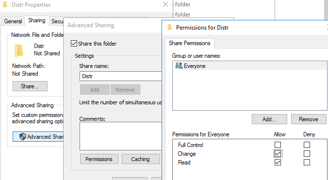 averyuone shared folder permissions