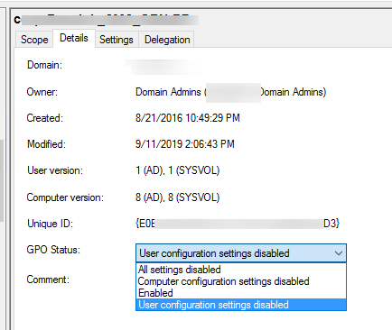 change gpo status - disable user or computer sections