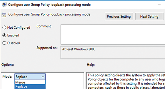 Configure user Group Policy Loopback Processing mode