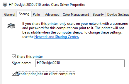 "enable the option ""Render print jobs on client computers "" on the shared printer"