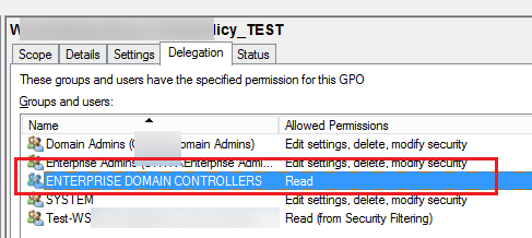 Enterprise Domain Controllers policy delegation for normal GPO replication in AD