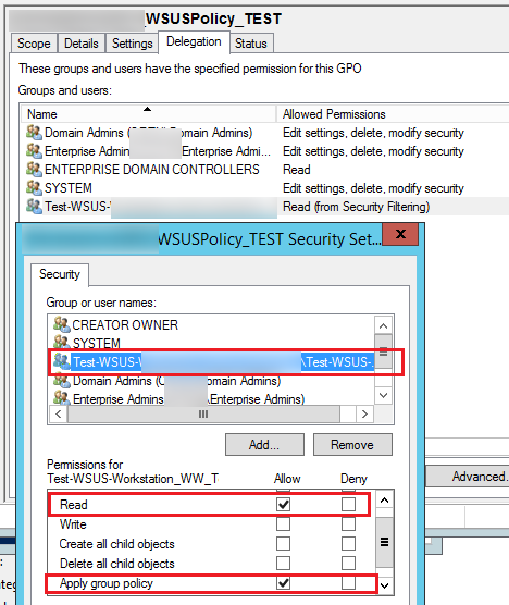 gpo permissions - read and apply group policy