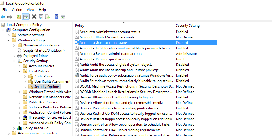 group policy settings to allow anonymous access to a network shared folder on windows 10 / server 2016