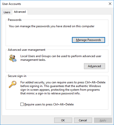 manage saved passwords in windows