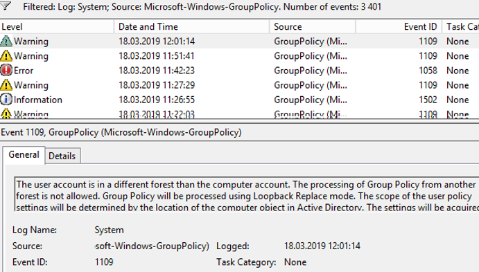 Microsoft-Windows-GroupPolicy events in event viewer