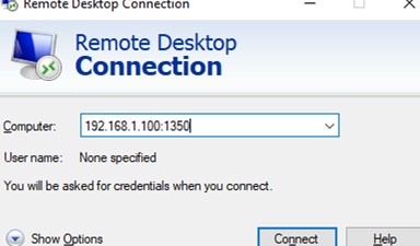 mstsc connect to non-standart RDP port