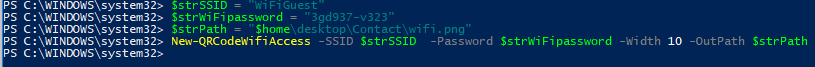 New-QRCodeWifiAccess - generate from powershell