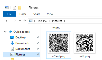 png files witr qr codes