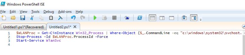 script powershell pour redémarrer WLAN AutoConfig