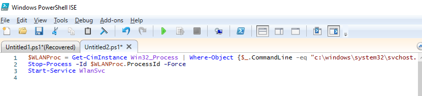 powershell script to restart WLAN AutoConfig