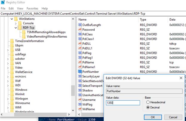 registry set rdp Port Number in windows 10