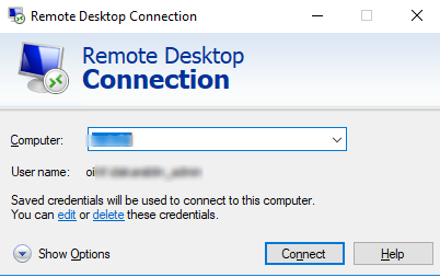 remote desktop client: Saved credentials will be used to connect to this computer. You can edit or delete these credentials