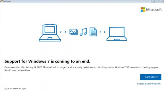 Support for Windows 7 is coming to an end