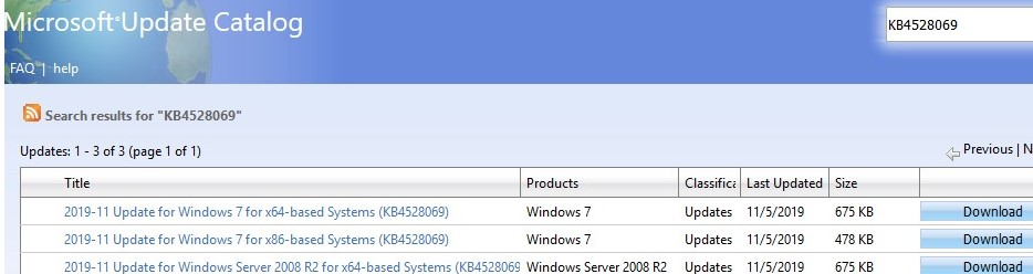 update catalog: install kb4528069 on win7 to test Extended Security Updates subscription