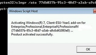windows 7: activate client esu year1 subsription