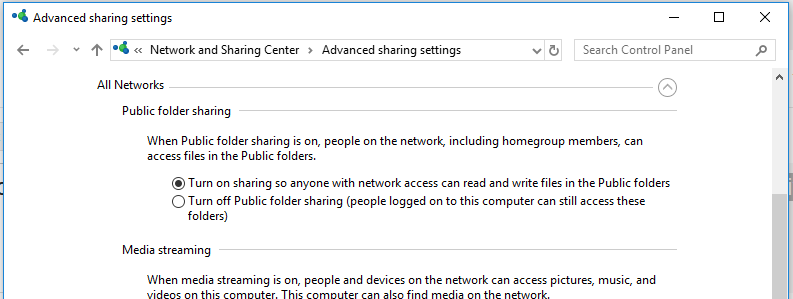 windows 10 / 2016 - turn on sharing so anyone with network access can read and write files in the Public folders