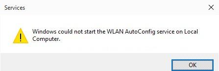 Windows n'a pas pu démarrer le service WLAN AutoConfig sur un ordinateur local