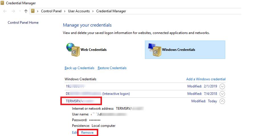 windows credentials - saved rdp passwords TERMSRV item