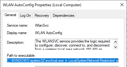 wlansvc service - wireless manager in Windows 10