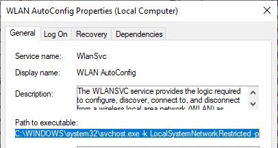 service wlansvc - gestionnaire sans fil dans Windows 10