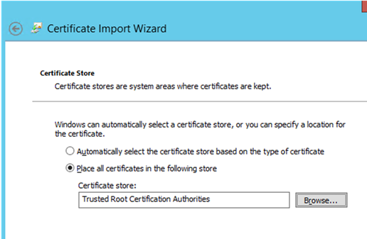 add SSL cert to Trusted Root Certification Authorities