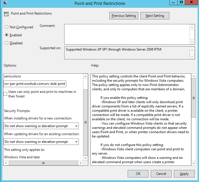 Configure Point and Print Restriction policy to install print drivers