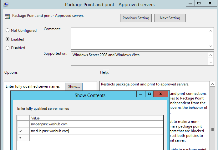 configuring the policy: Package Point and Print – Approved server