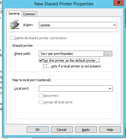 connect shared printer from print-server via GPO