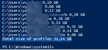 count the total user profile size on RDS host