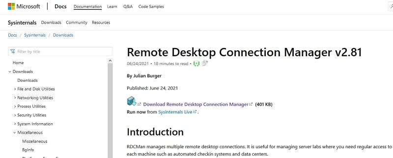 download rdcman (Remote Desktop Connection Manager) tool