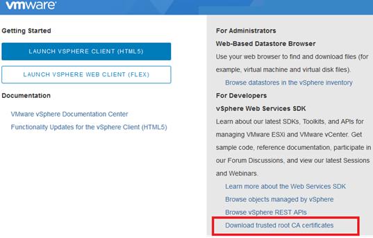 Download trusted root CA certificates in VMware Vsphere