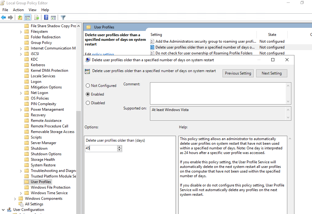 group policy: Delete user profiles older than a specified number days on system restart