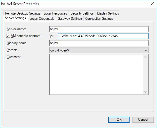 rdcman connect hyper-v vm console via vmbus