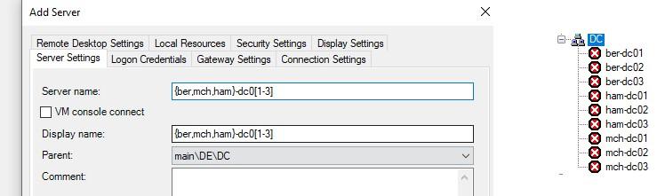 rdcman adding hosts via patterns