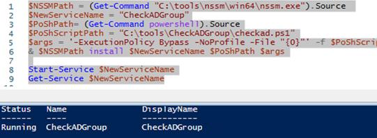 running powershell script as a windows service