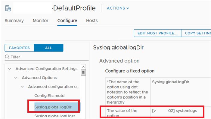 set Syslog.global.logDir via ESXi Host profiles