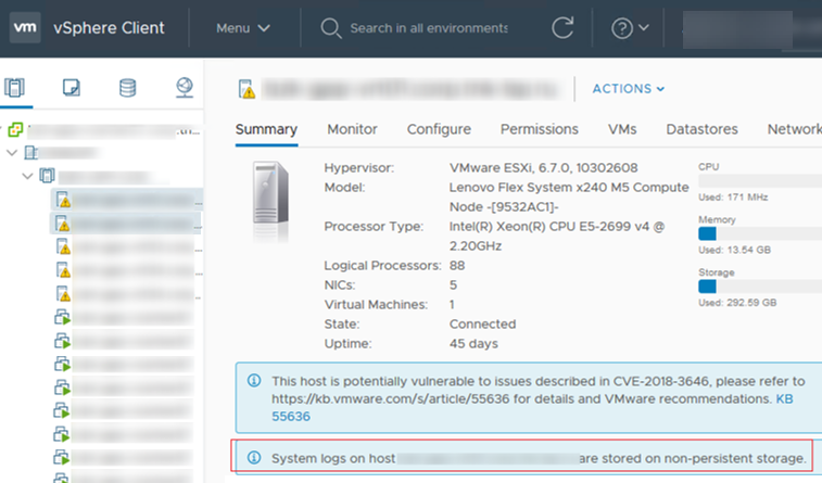 warning: System logs on vmware esxi host are stored on non-persistent storage
