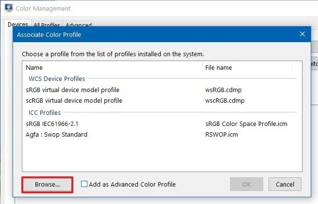 change monitor color profile from ICC Profiles to sRGB IEC61966-2.1