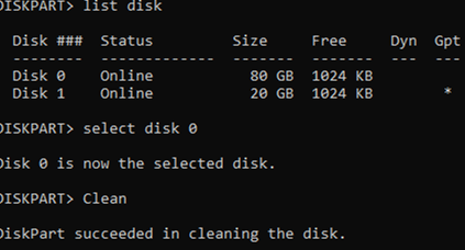 diskpart cleanup disk partition structure