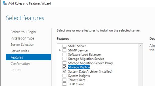 enable storage replica von windows server 2016